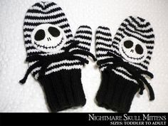 Nightmare Skull Mittens By Auntjanet | Knitting Pattern