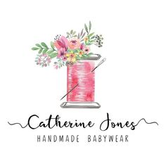 Premade Logo Design, Sewing Floral Logo, Sew Stitch Tailoring Handmade Clothes l. Custom Business Cards, Craft Business, Logo Atelier, Tailor Logo, Holiday Logo, Logo Floral, Marken Logo, Clothing Logo, Stitch Clothing