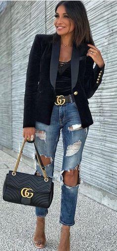 #fall #outfits women's black blazer, distressed blue denim jeans, black Gucci leather belt, and black Gucci leather handbag