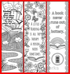 Set of 8 Coloring Bookmarks with Quotes on Books and Reading Free Printable Bookmarks, Bookmarks Kids, Reading Bookmarks, Colouring Pages, Coloring Pages For Kids, Little Free Libraries, Free Library, Book Markers, Cute Doodles
