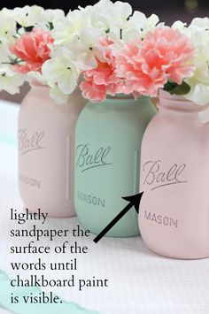 How to paint mason jars. A step-by-step tutorial. Creating a beautiful & inexpensive centerpiece with painted mason jars. Great for any occasion!