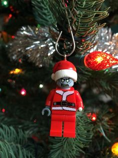 Zombie Santa Claus MiniFigure made with genuine LEGO® parts / Christmas ornament / MountainOfAwesome ETSY St. Holiday Ornaments, Holiday Decor, Lego Parts, Santa, Unique Jewelry, Handmade Gifts, Holidays, Vintage, Etsy