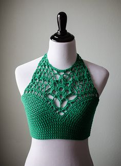 Crochet Halter Top | The Lindsey | Kelly Green | Festival Top | Bikini Top…