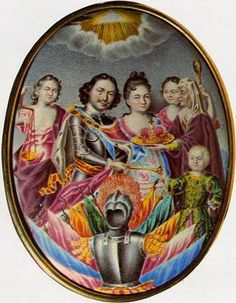 Agreement on the Royal Succession  Grigory Musikiysky    1717    Painted enamel on copper    10.8 x 8.2 cm    This miniature is of great interest from both historical and artistic points of view. In addition to Peter I and his wife Catherine (later Catherine I), it also shows the Tsarevich, Pyotr Petrovich.