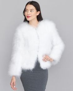 Fur Hat World, Off Shoulder Casual Dress, Mink Jacket, Wedding Jacket, White Feathers, Fashion Sewing, Fox Fur, Fashion Beauty, Fur Coats