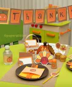 Dress up the kids' #Thanksgiving table with this cute set.