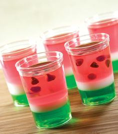 Seedy little characters, layered with personality. Watermelon jello shots, Yum!