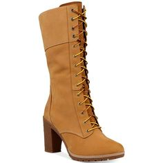 Timberland Women's Glacy Lace-Up Block-Heel Boots (€135) ❤ liked