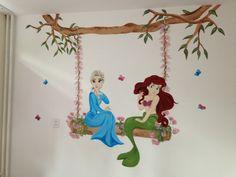 Muurschildering kleine prinses en Frozen, gemaakt door joan of arts. www.facebook.com/joanschetst
