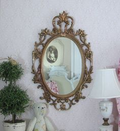 French country mirrors for sale shabby chic mirror oval ornate antique large - Shabby vintage gustavien ...