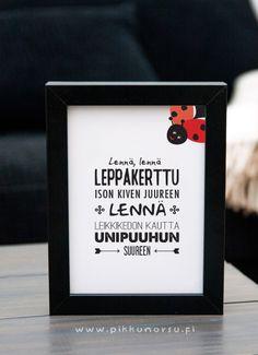 Lastenlaulujulisteet ja -postikortit. Kortti leppäkertun kuvalla tai ilman. Postcard 4,20 €, poster from 20,90 €.