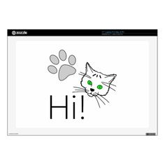 Cat - Hi! Decal For Laptop