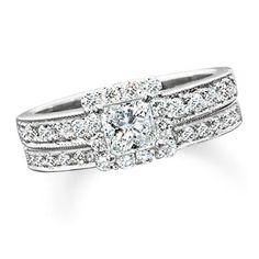I absolutely love this bridal set.   1-1/4 CT. T.W. Princess Cut Diamond Bridal Set in 14K White Gold - Zales