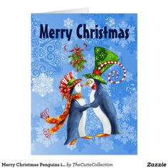 BIG Merry Christmas Penguins in Love Mistletoe Card
