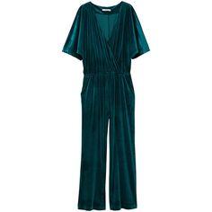 Crossed Velvet Jumpsuit (1.500 RUB) ❤ liked on Polyvore featuring jumpsuits, romper, jump suit, short sleeve jumpsuit, wrap jumpsuits, blue jumpsuit and blue jump suit