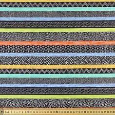 Cactus Club Stripe Allover Fabric Black 112 cm