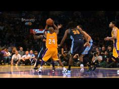 Kobe Bryant's Spectacular Shot - Kobe Bryant of the Los Angeles Lakers gets past JaVale McGee of the Denver Nuggets to make an awesome basket. The Lakers would lose Game 5 but win the series in the NBA Playoffs Round 1.