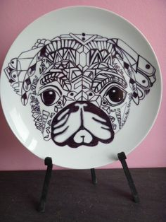 PUG Hand drawn porcelain dinner plate available to order through //. & Cute personalised Wedding plate available from https://www.facebook ...
