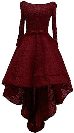 Amazon.com: Lemai Beaded Lace High Low Long Sleeves Formal Prom Homecoming Cocktail Dreses Burgundy US 4: Clothing