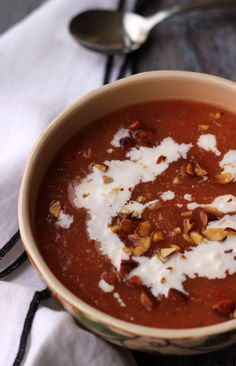 Peach Watermelon Gazpacho with Feta Crema on Eats Well With Others