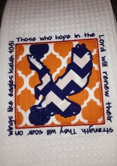 Orange & Blue kitchen towel with patch and Eagle  by wildneedles, $16.00