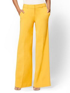 Petite Yellow Wide-Leg Pant - All-Season Stretch - Avenue - New York & Company Business Casual Outfits, Casual Summer Outfits, Spring Outfits, High Waisted Dress Pants, Pleated Pants, Cute Fashion, Fashion Pants, Fashion Outfits, White Outfits For Women