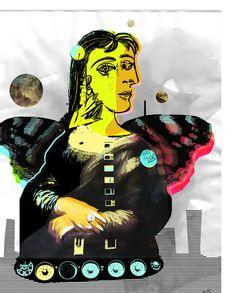 Mona Dora Lisa Maar Collage 2 StreetArt // Die blauen Reiter