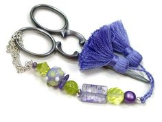 Scissor Fob Lavender Lime Green Purple Quilting by TJBdesigns, $18.00