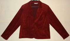Women two button corduroy blazer, cranberry color. Size 18. By Studio Works. Thin shoulder pads. It is not lined. Two front pockets. Sizes are approximate. Color: Cranberry. | eBay!