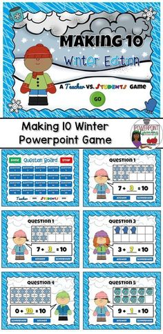 Practice making 10 with this winter themed powerpoint game. Students are given a number in a tens frame and they must figure out what number can be added to it to make 10. These tens frames uses pictures of Snowflakes, Hot Cocoa, and winter mittens. There