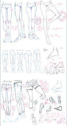 Body Drawing Tutorial, Manga Drawing Tutorials, Art Tutorials, Body Reference Drawing, Drawing Reference Poses, Leg Reference, Drawing Lessons, Drawing Tips, Anime Drawings Sketches