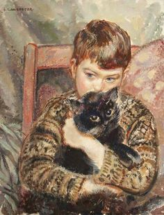 Lilian LANCASTER (c. 1887 – 1973) The Boy and the Cat (1933, huile sur toile, Blackpool, Grundy Art Gallery)