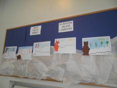 Tutkimme eri eläinten jälkiä lumessa. Jokainen sai piirtää jonkin eläimen jäljet valmiiksi tekemäämme maisemaan. Lopuksi lisättiin eläin. Eläimet olivat värityskuvina. Science Art, Science And Nature, First Grade Science, Forest Animals, Geography, Teaching, Learning, Science And Nature Books, Education