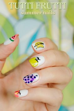 Day Tutti Frutti Summer nails: as a little homage to our favorite season we created summer nails. Green apple, banana, peach and grapes are on our nails Love Nails, Pretty Nails, Fun Nails, Essie, Nail Designs 2015, Summer Makeup, Cool Nail Art, Simple Nails, White Nails
