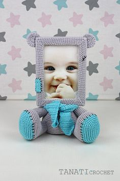 Crochet Pattern of Photo Frame TEDDY BEAR Tutorial PDF file
