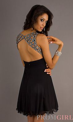 Black Party Dress with Beaded Straps by Betsy and Adam at PromGirl.com