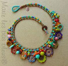 Textile Jewelry, Bead Jewellery, Fabric Jewelry, Beaded Jewelry, Jewelery, Funky Jewelry, Jewelry Crafts, Jewelry Art, Boho Jewelry