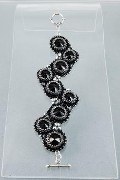 Black Silver Swarovski Bracelet, Gothic Beadweaving Bracelet, Free Shipping on Etsy, $120.00