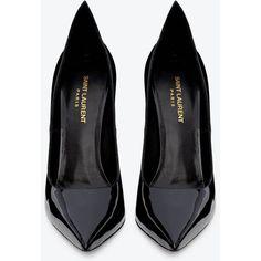 Saint Laurent Paris Escarpin 'thorn' Pump In Black Patent Leather ($685) ❤ liked on Polyvore featuring shoes, pumps, heels, black, high heels, schuhe, black pumps, platform pumps, black high heel shoes and patent leather pumps