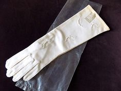 Midcentury Candlelight White Cotton Gloves Unworn Mid Length for Bride 7 by EyeSpyGoods on Etsy