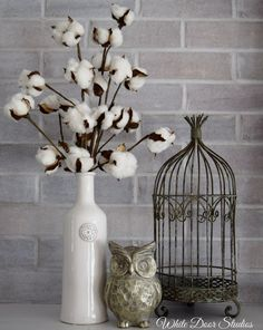 Add some rustic, farmhouse charm to your home with this beautiful cotton boll decor piece. Featuring natural cotton boll stems in an elegant white ceramic vase. A wonderful accent for any room of your home. Display alone or as part of a collection as shown. * Bird cage and owl are