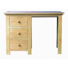 Lacar Solid Oak Single Pedestal Dressing Table / Desk  www.easyfurn.co.uk Dressing Table Desk, Solid Oak Furniture, Oak Panels, Drawer Fronts, Simple Lines, Pedestal, Office Desk, Corner Desk, Home Decor