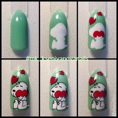 Nails Diy Designs Step By Step Nailart Trendy Ideas Snoopy Nails, Nail Art Dessin, Decoration Chic, Valentine Nail Art, Animal Nail Art, Trendy Nail Art, Diy Nail Designs, Disney Nails, Diy Décoration