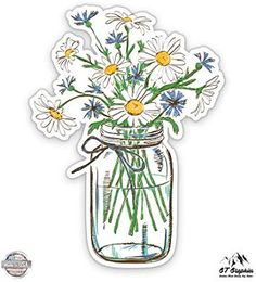 Daisies in Mason Jar - Vinyl Sticker - For Car Laptop I-Pad Phone Helmet Hard Hat - Waterproof Decal Bubble Stickers, Cool Stickers, Printable Stickers, Laptop Stickers, Journal Stickers, Planner Stickers, Homemade Stickers, Waterproof Stickers, Aesthetic Stickers