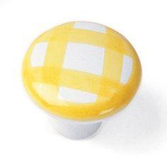 Laurey Cabinet Knobs, 1 1/2″ Porcelain Knob - Tattersal Yellow