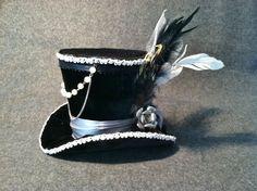Black Velvet Mini Top Hat , Steampunk, Women Headpiece, Gothic Hat, Victorian Hat. Ready To Ship. $45.00, via Etsy.