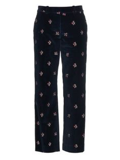 Floral-embroidered velvet trousers | Maison Margiela | MATCHESFASHION.COM US