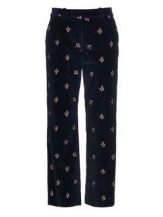 Floral-embroidered velvet trousers | Maison Margiela | MATCHESFASHION.COM US