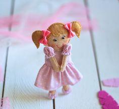 5 inch mini felt doll  Tiny pocket doll   by MiracleInspiration