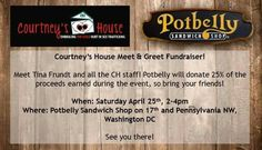 Saturday 4/25/15: come to Potbelly on 17th and Penn NW to meet Tina and the CH staff! 2-4pm, Potbelly will donate 25% of the proceeds to CH. See you there?